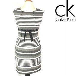 Calvin Klein gray shade striped dress Sz 8P